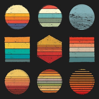 Zestaw retro vintage grunge zachody słońca o różnych kształtach i kolorach