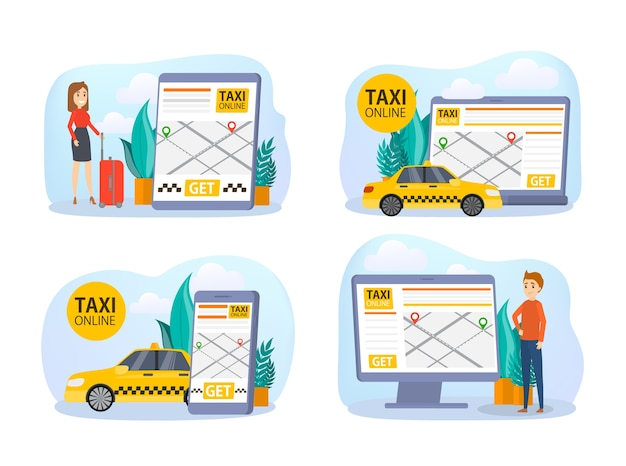 Zestaw rezerwacji taksówek online. zamów samochód w aplikacji na telefon komórkowy. idea transportu i połączenia internetowego. ilustracja na białym tle płaski wektor