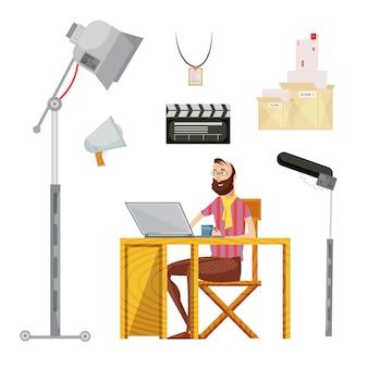 Zestaw reżyser filmowy, w tym człowiek z kubkiem w pobliżu laptopa film scenariusz mikrofon oświetlenie pojedyncze ilustracji wektorowych