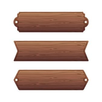 Zestaw różnych banerów drewnianych