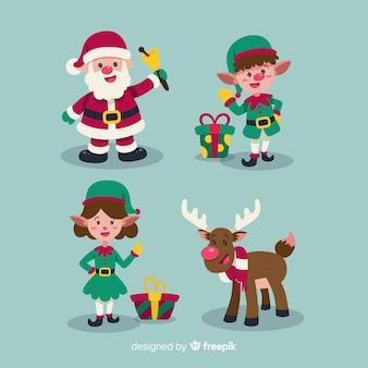 Zestaw różnych elementów Bożego Narodzenia w płaski kształt