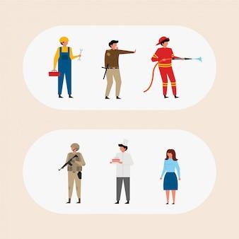 Zestaw różnych postaci zawodowych zawodu ludzi