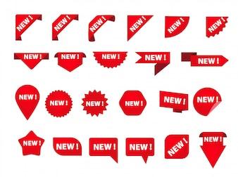 Zestaw różnych znaczników z nowym napisem