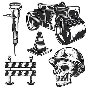 Zestaw robót drogowych do tworzenia własnych odznak, logo, etykiet, plakatów itp.