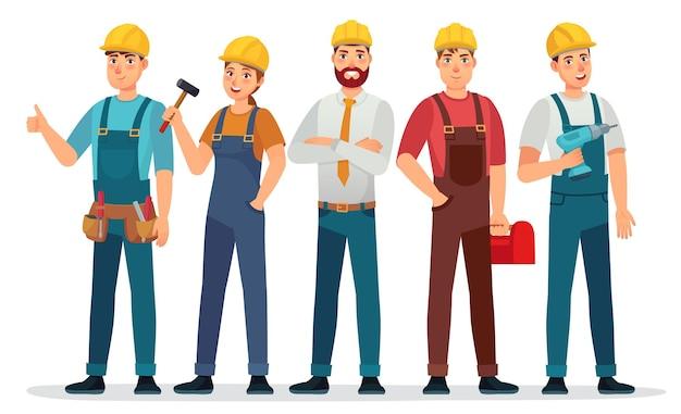 Zestaw robotników przemysłowych