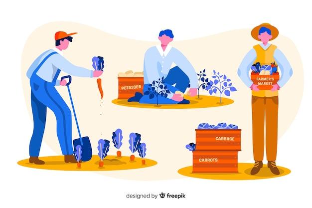 Zestaw robotników rolnych ilustrowany