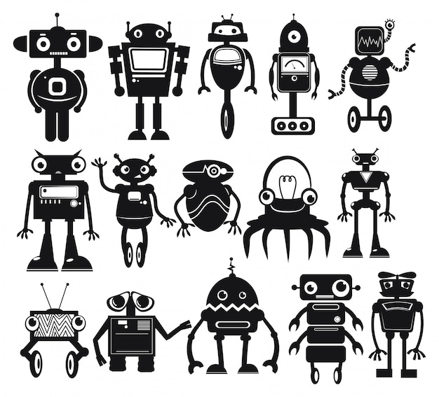 Zestaw robotów kreskówek. kolekcja ślicznych robotów retro.