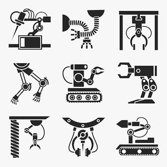 Zestaw robotów przemysłowych.