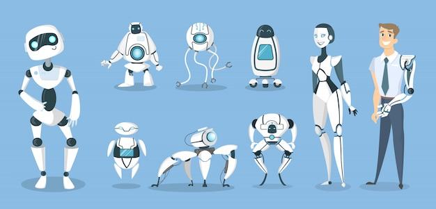 Zestaw robotów przyszłości. androidy i cyborgi, sztuczna inteligencja i protezy.