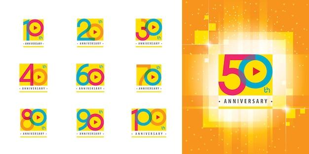Zestaw rocznicowego kolorowe logo