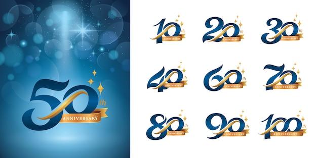 Zestaw rocznicowego logotypu, eleganckiego klasycznego logo, liter retro i retro z numerami seryjnymi