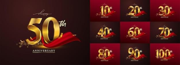 Zestaw rocznicowego logotypu i czerwoną wstążką. projekt godła obchody złotej rocznicy dla broszury, ulotki, czasopisma, plakatu broszury, sieci web, zaproszenia lub karty z pozdrowieniami. ilustracja wektorowa.