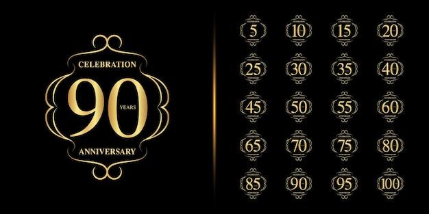 Zestaw rocznicowego logotypu. obchody złotej rocznicy.