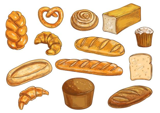 Zestaw rodzajów chleba i elementów piekarni. szkic ołówkiem wektor chleb żytni, ciabatta, chleb pszenny, muffinka, bułka, bajgiel, chleb krojony, bagietka francuska, rogalik, precel