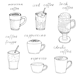 Zestaw rodzajów kawy w filiżankach i szklankach z napisami, ilustracji wektorowych, rysunek odręczny, szkic