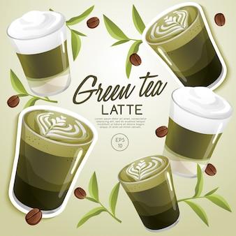Zestaw rodzajów kawy: zielona herbata latte: ilustracja