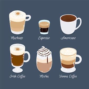 Zestaw rodzajów kawy