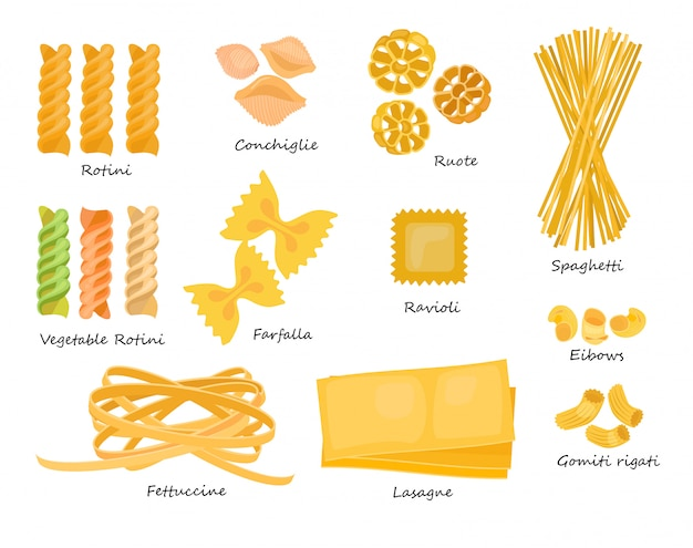 Zestaw rodzajów makaronu