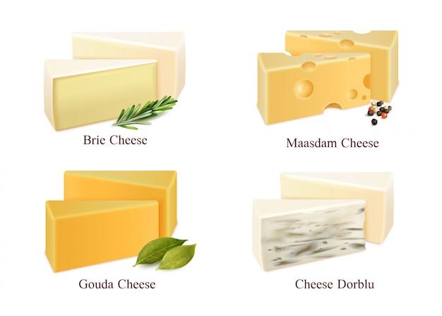 Zestaw rodzajów serów