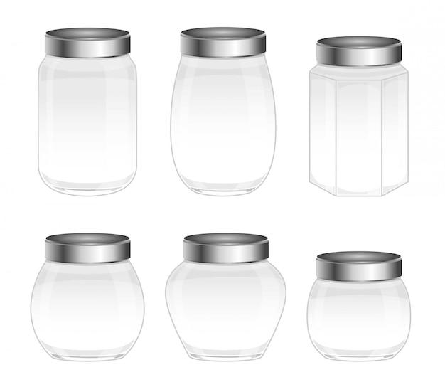 Zestaw rodzajów szklanych pojemników, słoików
