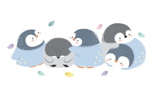 Zestaw rodzinny ładny pingwiny