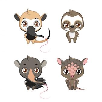 Zestaw rodzinny xenarthra (anteater, lenistwo, tamandua, armadillo)