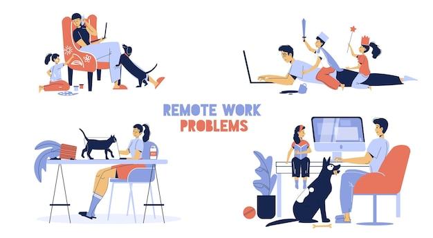 Zestaw rodzinnych postaci freelancera - praca online i powiązane problemy.