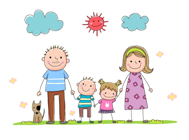Zestaw rodziny handdrawn kreskówka trzymając rękę razem w słoneczny dzień