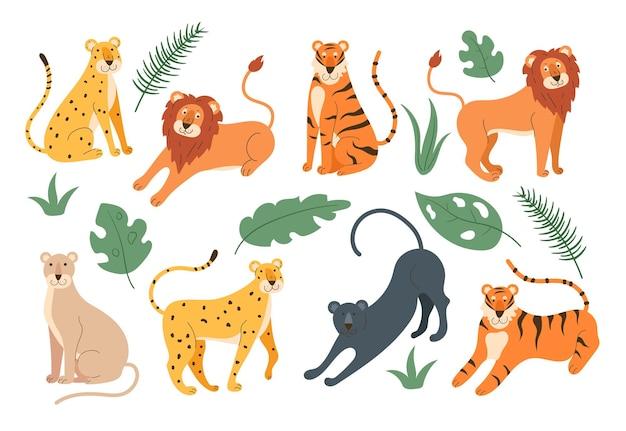 Zestaw rodziny kotów w dżungli na białym tle