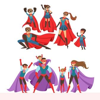 Zestaw rodziny superbohaterów. uśmiechnięci rodzice i ich dzieci ubrani w superbohaterów przebierają się w kolorowe ilustracje