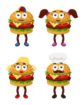 Zestaw rodziny znaków hamburguera
