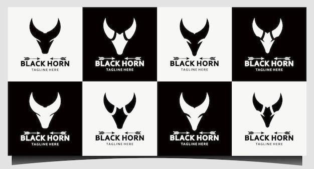 Zestaw róg, country western bull cattle vintage label projektowanie logo