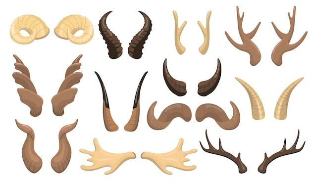 Zestaw rogów i poroża. baran, renifer, łoś, krowa, jeleń, rogate części jelenia na białym tle. płaskie wektor ilustracja dla męskich rogatych zwierząt, trofeum myśliwskie, koncepcja dekoracji.