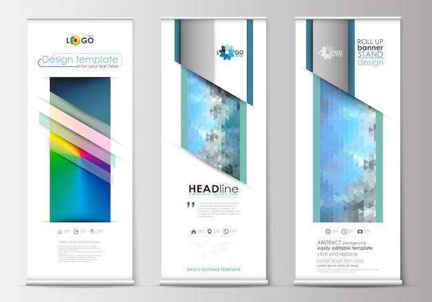 Zestaw roll up stojaki banner, płaskie projektowanie szablonów, geometryczny styl z gradientem siatki