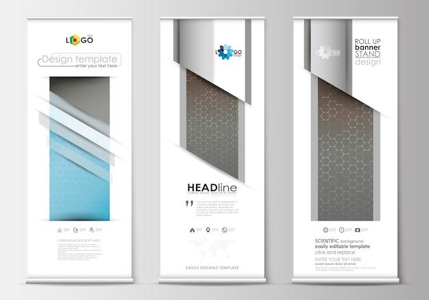 Zestaw roll up stojaki banner, płaskie projektowanie szablonów, styl geometryczny, koncepcja biznesowa.