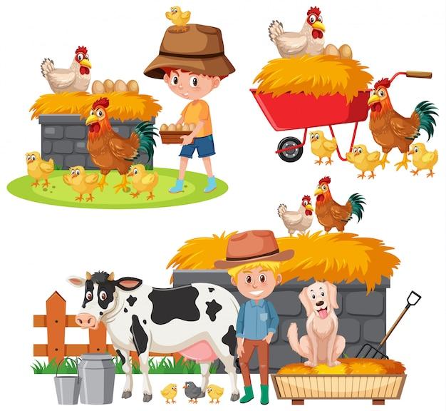 Zestaw rolników i zwierząt gospodarskich na białym tle
