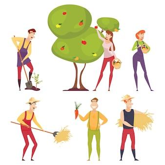 Zestaw rolników używających narzędzi rolniczych. rolnik z łopatą, widłami. rolnik w polu pszenicy pracuje. zbiory rolników. ogrodnik.