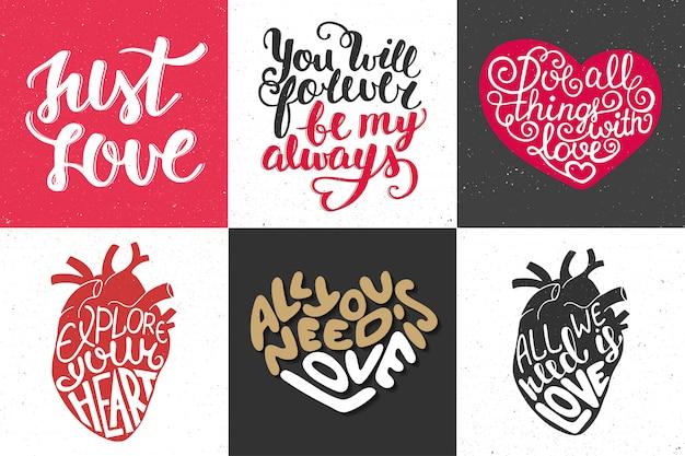 Zestaw romantyczny ręcznie rysowane typografii