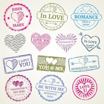 Zestaw romantyczny znaczek pocztowy
