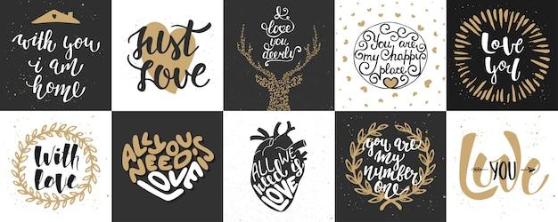 Zestaw romantycznych i miłosnych plakatów z napisem