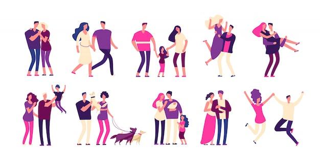 Zestaw romantycznych ludzi. szczęśliwe pary przytulić pocałunek chłopak dziewczyna kochanek piękna młoda romantyczna rodzina mężczyzna kobieta miłość s