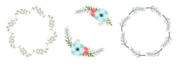 Zestaw romantycznych wieńców botanicznych na białym tle. ramki kwiatowe.