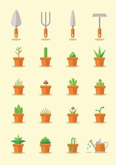 Zestaw roślin w doniczce w stylu płaski