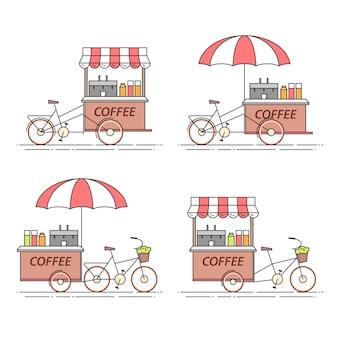 Zestaw rowerów kawy. wózek na kółkach. kiosk z jedzeniem. ilustracji wektorowych. płaska linia sztuki. elementy budownictwa, mieszkaniowe, rynek nieruchomości, architektura, ulotka inwestycyjna nieruchomości, baner