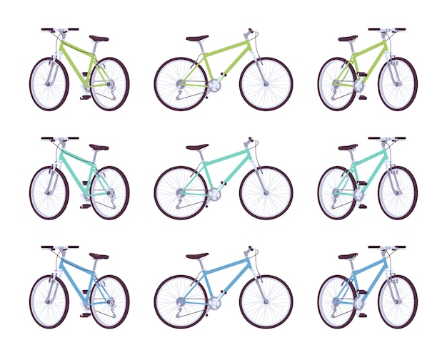Zestaw rowerów sportowych w kolorach zielonym, turkusowym, niebieskim
