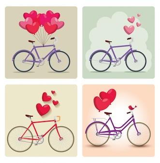 Zestaw rowerów z balonami w kształcie serca