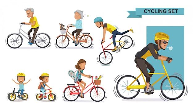 Zestaw rowerzystów. koncepcja fitness i jazdy na rowerze różnicuje każdy przedział wiekowy.