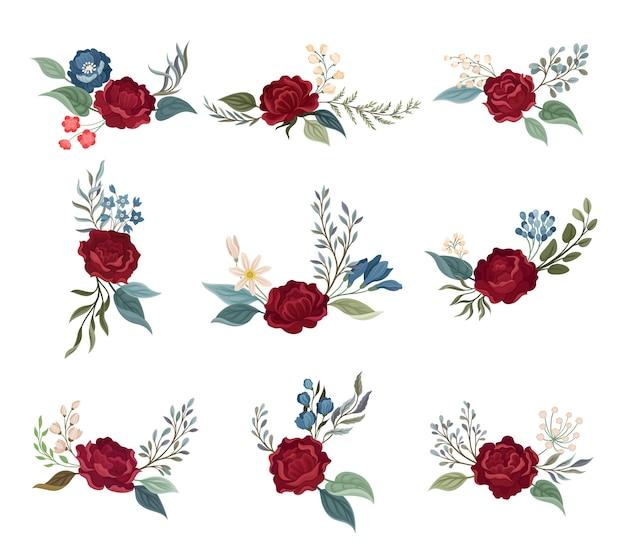 Zestaw róż burgundowych na łodygach z zielonymi liśćmi