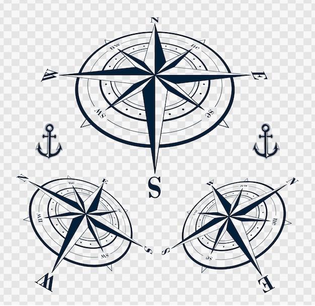 Zestaw róż kompas lub róż wiatr