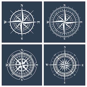 Zestaw róż kompasu lub ilustracji wiatrówki